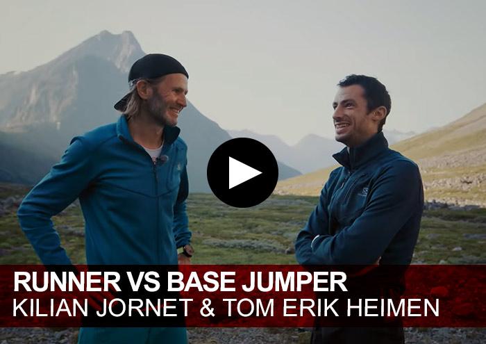 Runner vs Base Jumper. Kilian Jornet & Tom Erik Heimen